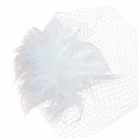 Elegante Bruid Vrouwen Witte Veer Mesh Haar Clip Haarspeld Bridal Prom Bruiloft Accessoire
