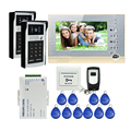 "FREE SHIPPING New 7"" Recording Monitor Video Intercom Door Phone + 2 Waterproof RFID Code Keypad Unlock Doorbell Camera + 8G SD"