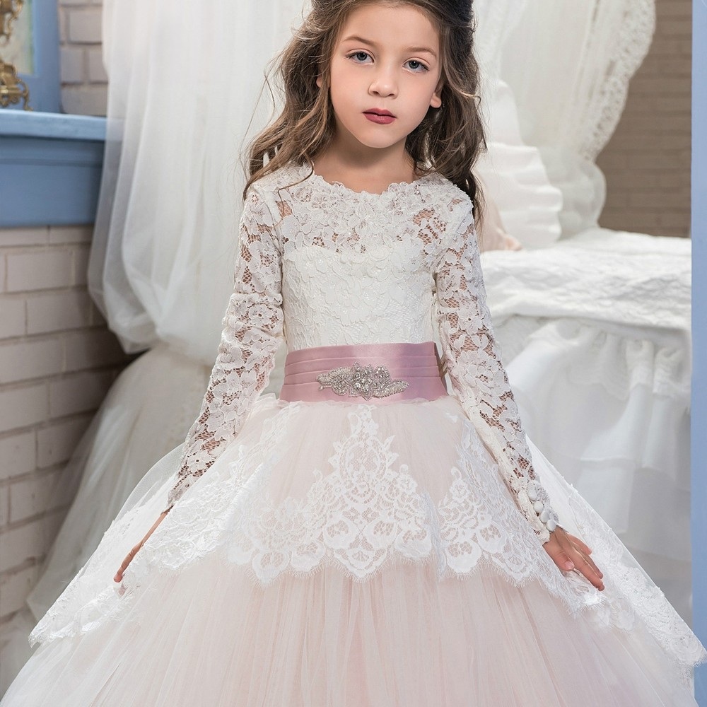 Light Pink Scoop Lace Long Sleeve Flower Girl Dresses Tulle Puffy