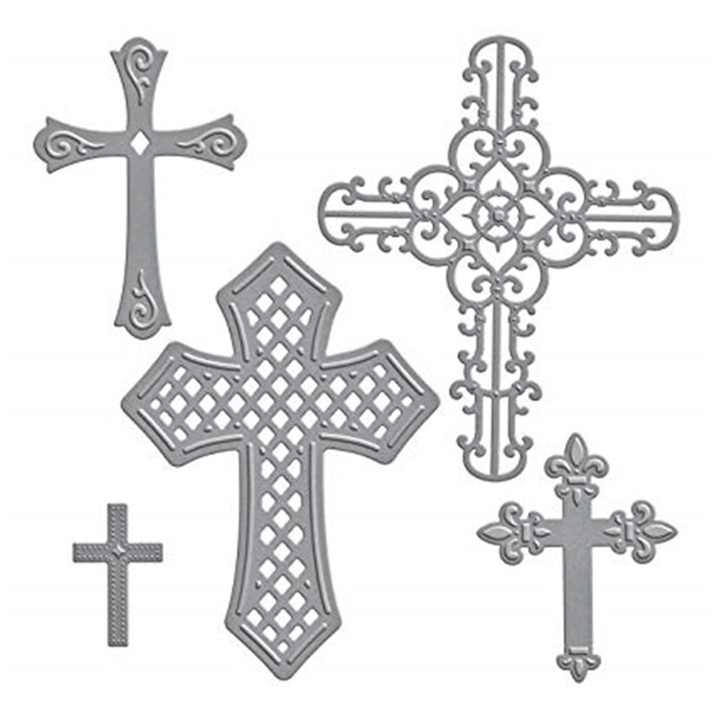 Gjcrafts 2018 New Crosses Two Etched Metal Cutting Dies For Scrapbooking Card Album Making Diy Craft Diecut Stencil Embossing Electronic Components & Supplies