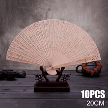 10pcs Wooden Folding Hand Fans Elegant Antique Sandalwood Chinese Style Artificial Craft Wood for Home Decoration