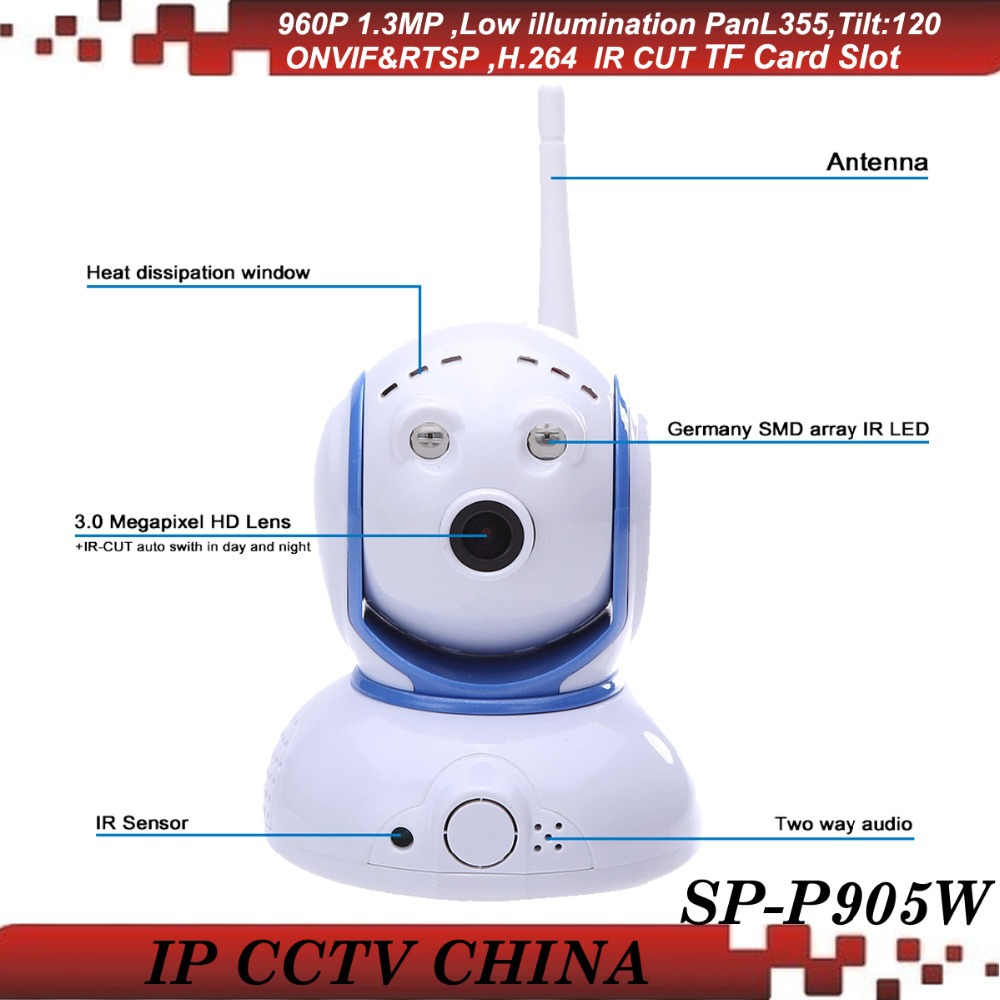 SunEyes SP-P905W Mini Robot Pan Tilt Wireless IP Camera 960P 1.3MP HD Low Lux with Micro SD Slot and Two Way Audio ONVIF RTSP suneyes sp p902wpt onvif 960p hd wireless pan tilt dome ip camera with tf micro sd card slot two way audio array ir low lux