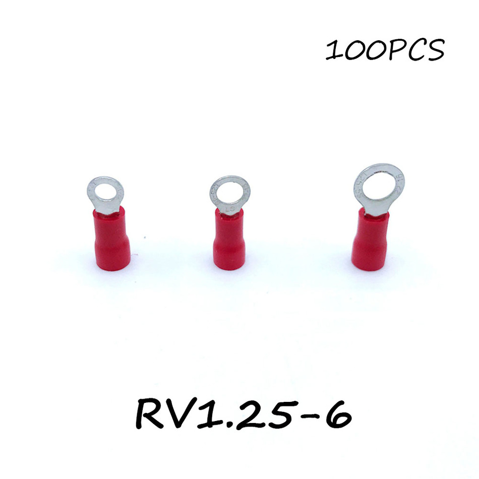 Ring Insulated Connector Terminal Block 100PCS RV1.25-6 Red Cable Wire Electrical Crimp Terminator A.W.G 22-16 Cap 15pcs a w g 14 6 copper cable lug tube wire crimp terminal ring connector 88a