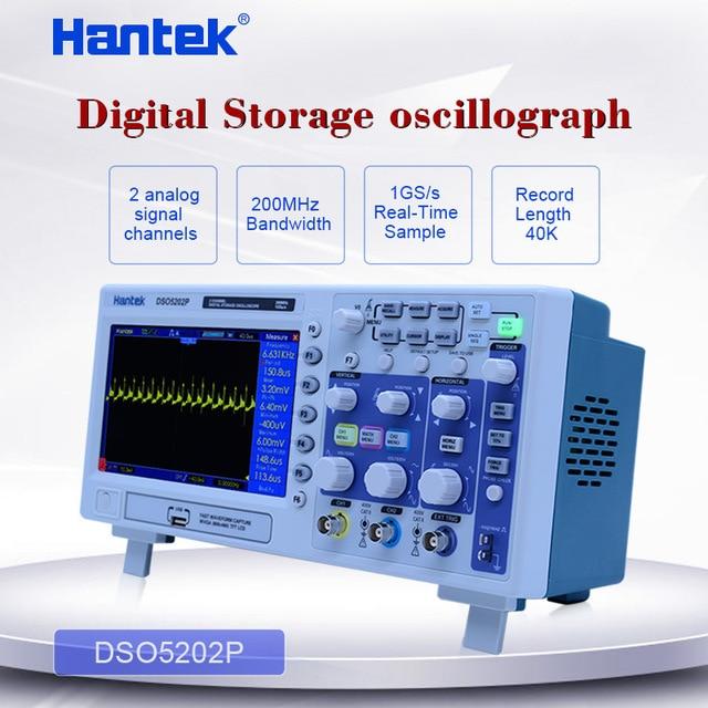 "Hantek DSO5202P ملتقط الذبذبات الرقمي 200MHz 2 قنوات 1GSa/s 7 ""TFT LCD سجل طول 40K USB AC110 220V راسم الذبذبات سطح المكتب"