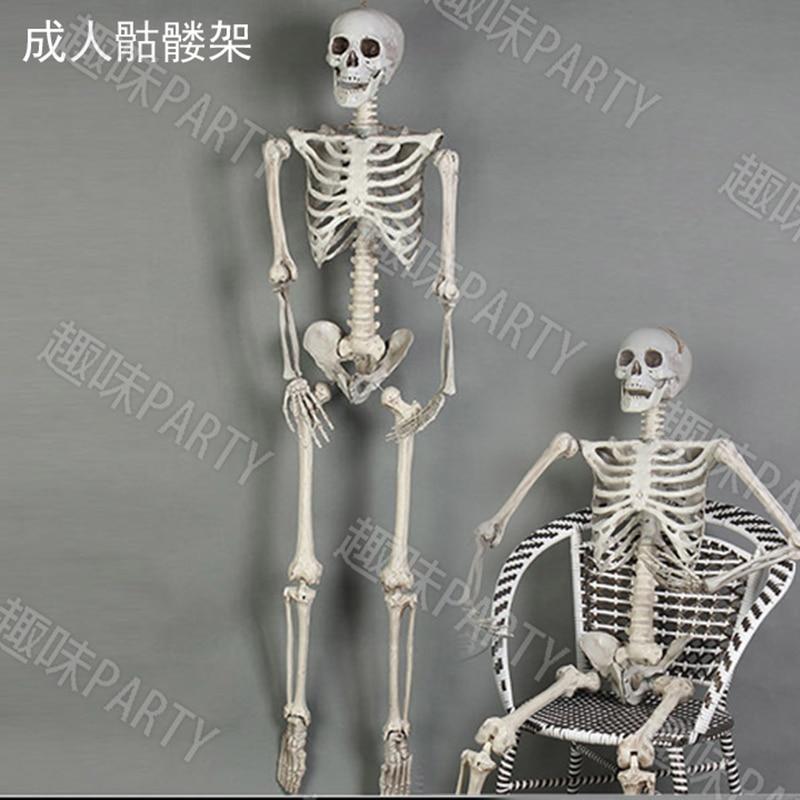 Festivel hantée maison paysage Halloween props terroristes 170 cm squelette en plastique crâne os sac corps chambre de décoration