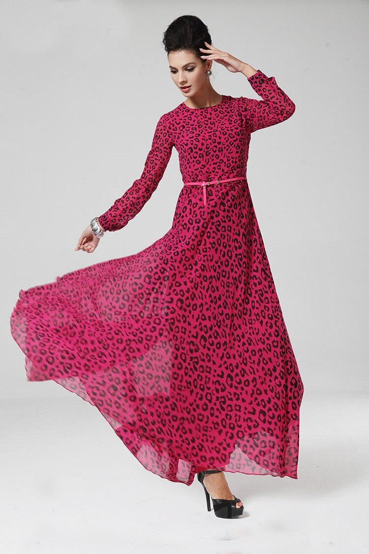Chiffon long dress leopard print islamic abaya islamic clothing pink colours animal print long dress