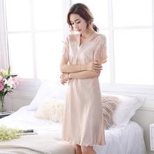 2019 New Sweet Young Women Silk Nightgown Fashion Knee-length Girl Sleepwear Summer Ladies Sleepshirts