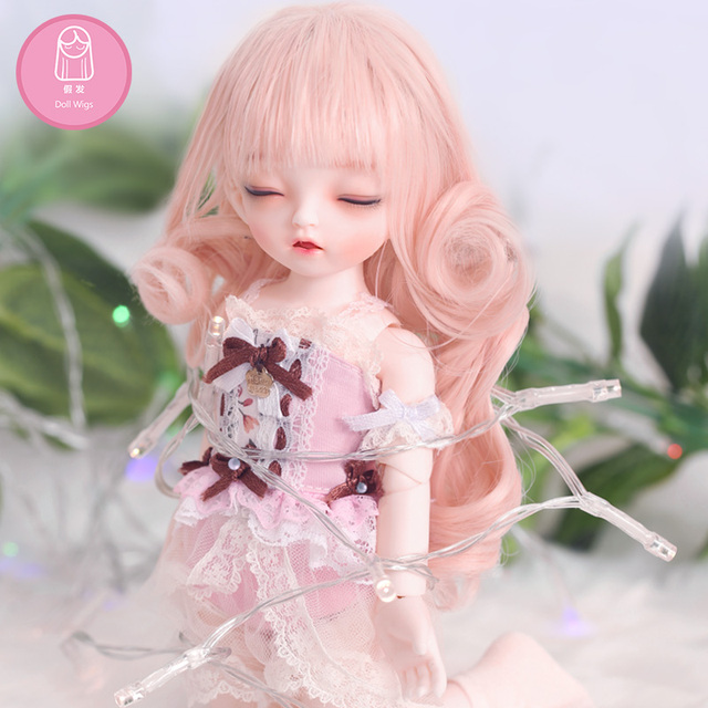 Free Shipping BJD Wig Long Curly Bangs Pink Brown Gentle Princess Hair High Temperature Girl For 1/6 BJD Dolls 6-7 inch Oueneifs