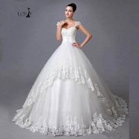 Robe De Mariee Grande Taille Princess Style Wedding Dress with Beaded LORIE 2019 A line Lace Appliques Bridal Gown Elegant