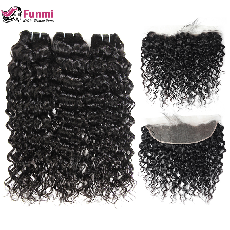 Funmi Hair Brazilian Water Wave Bundles With Closure Virgin Hair Lace Frontal With Bundles Human Hair Bundles With Frontal 13x4