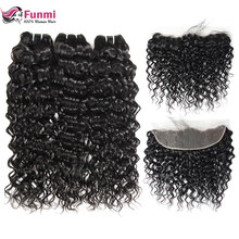 Funmi Hair Brazilian Water Wave Bundles With Closure Virgin Hair Lace Frontal With Bundles Human Hair Bundles With Frontal 13x4(China)