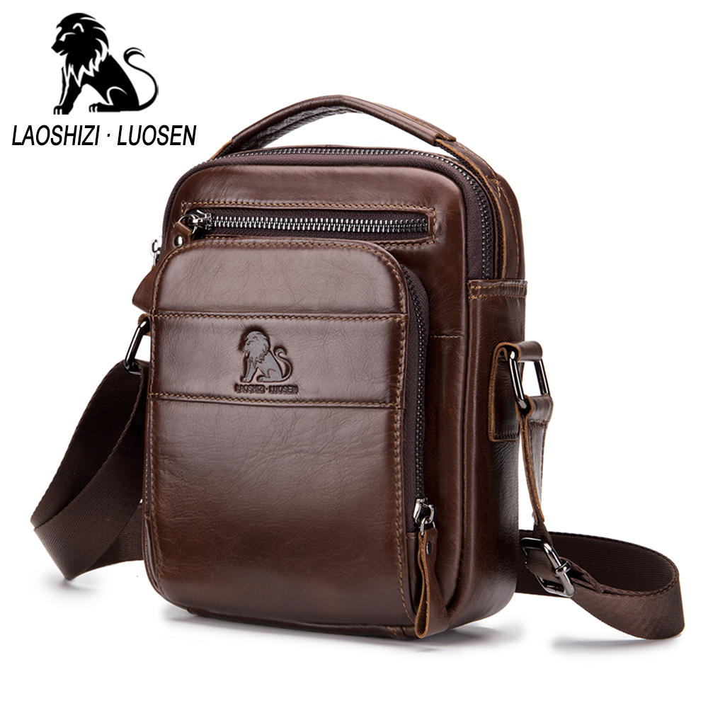 Brand Genuine Leather Man Shoulder Bags Fashion Vertical Flap Cow Leather Messenger Bag For Male  Men's Casual Tote Handbags