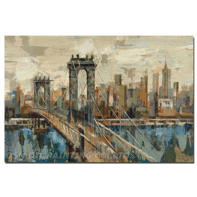 Superb Skills Artist Hand Painted Impression New York City Oil Painting On Canvas Impression Brooklyn Bridge Oil Painting