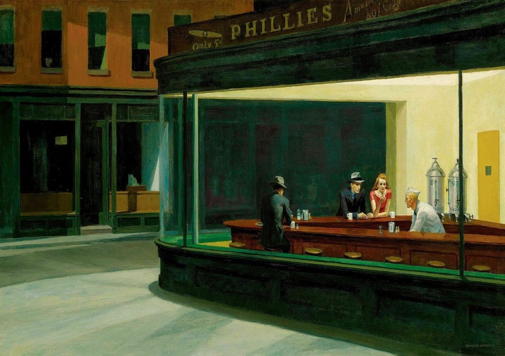 Edward Hopper: Nighthawks SILK POSTER Decorative Painting  24x36inch