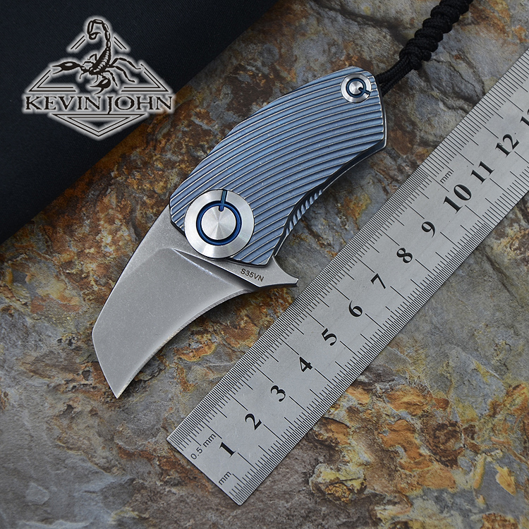 Parrot ball bearing S35VN blade Titanium Handle folding knife Hunting tactical outdoor gear camp knives EDC tool edc gear outdoor 6 slot design tool box with blade saw opener bar code sheet s carabiner