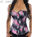 TITIVATE Wholesa Sexy Women's Corset Floral Print Denim Corset Yellow/Red/Green Corset Bustiers