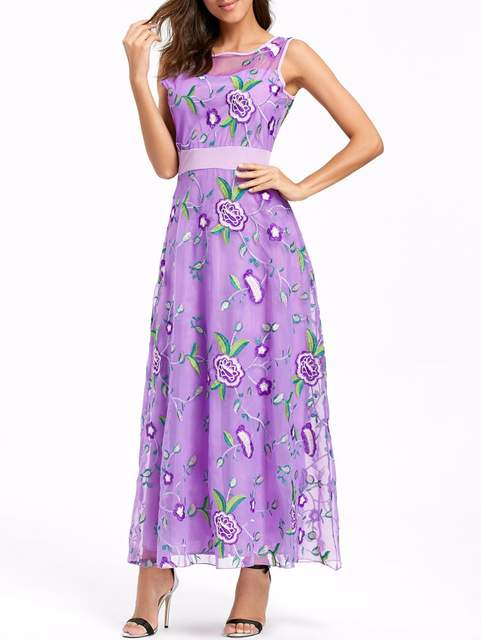 0eb450d45cd Luxury Runway Women Floral Embroidery Flower Dress Summer Mesh Maxi Dress  Designer Dresses Long Sexy Dress