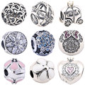 Pumpkin Car Crown Beads for Jewelry Making Flower Charms 100% 925 Sterling Silver Bead fit for Pandora 1 Piece DIY Accessories