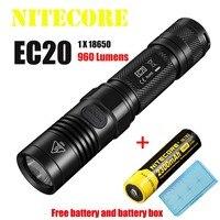 Nitecore ec20 손전등 크리 어 XM-L2 t6 led 960 루멘 222 m 거리 led 토치 방수 + nl183 2300 mah 배터리 + 배터리 상자