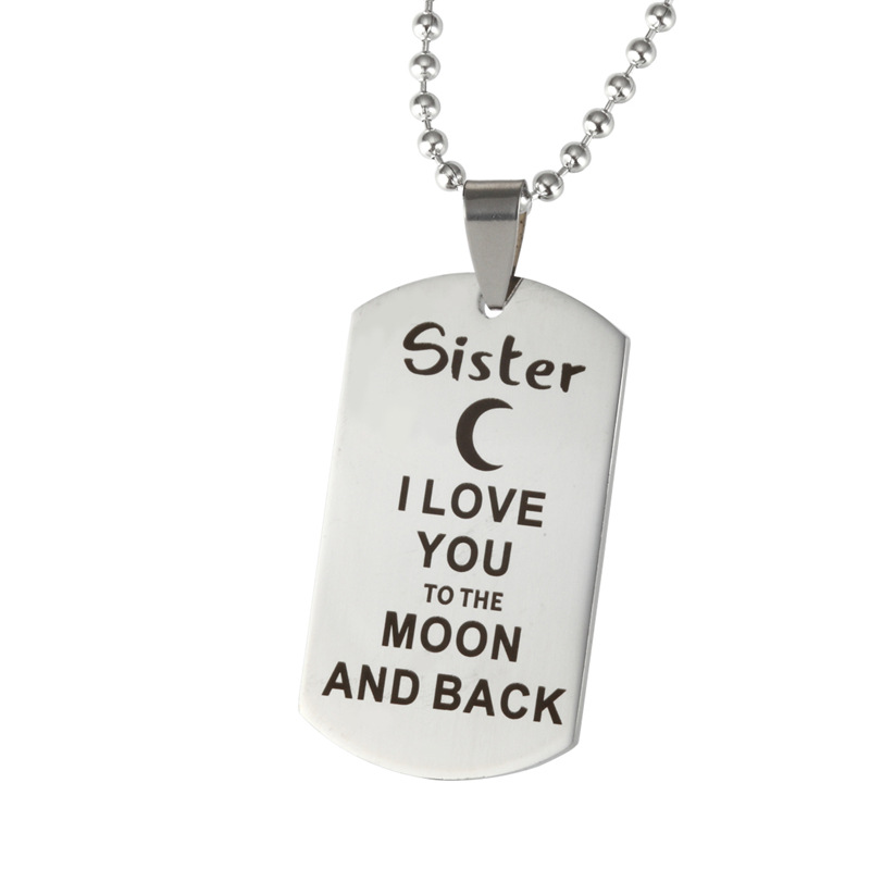 1PCS Engraved Letters Mum Niece Mom Dad Nephew Brother Nana I LOVE YOU Stainless steel Necklace Gifts For Family