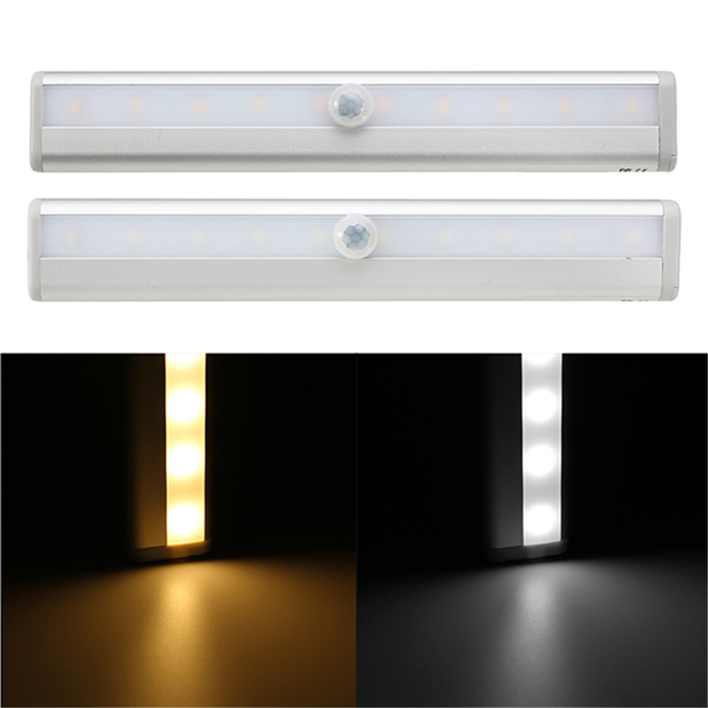 Mrosaa Led Night Light 6V 1W 10 LEDs Motion Sensor Light Battery Powered Remote Control Dimming Lamps for Cabinet Corridor