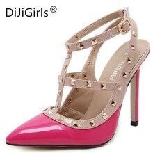 Dijigirls/новые женские пикантные туфли с острым носком на высоком каблуке Мода Пряжка шипованных высокий каблук-шпилька Босоножки большой Размеры женские туфли-лодочки