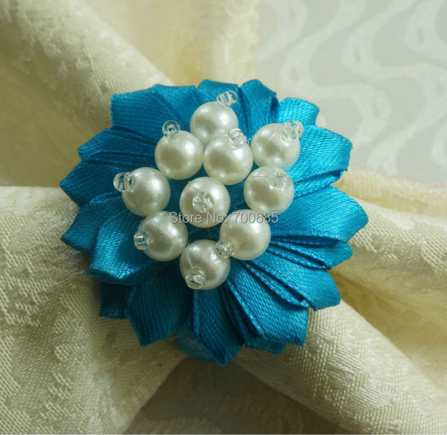 Pearl Beaded Flower Napkin Ring Bulk Weddingplastic Holder