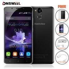 Blackview p2 smartphone 4 gb ram 64 gb rom android 6.0 zelle telefon MT6750T Octa-core 5,5 zoll FHD 6000 mAh 13MP + 8MP Mobil telefon