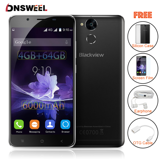 Blackview P2 smartphone 4GB RAM 64GB ROM Android 6.0 Cell Phone MT6750T Octa Core 5.5 inch FHD 6000mAh 13MP+8MP  Mobile Phone