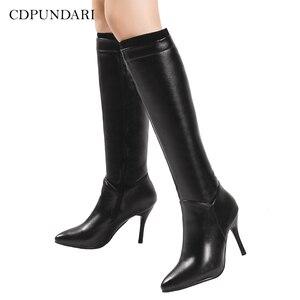 Image 1 - 黒、白のジッパーニーハイブーツ女性ハイヒール秋冬ロングブーツ靴