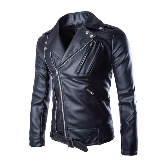 LANBAOS Fashion Men's PU Leather Jacket Coat Faux Leather Motorcycle Jackets Slim Fit Turn-down Collar Zipper Buttons Belted Hem