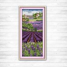 Лаванда Шампейн Счетный напечатаны на холсте DMC 11CT 14CT крестом комплект набор для шитья Сделай Сам Вышивка Цветы Сад пейзажи