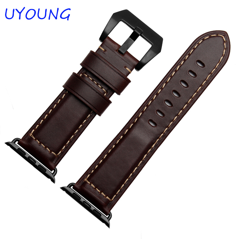 Prix pour Haute qualité brun couleur bracelet en cuir 38/42 MM bande pour iwatch avec adaptateur