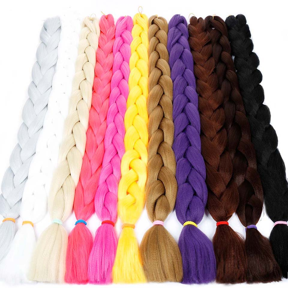 DIFEI Braiding Hair 82 Inch Synthetic Crochet Jumbo Braids 165g/piece Pure Color Bulk Pink Blue for Hair Extensions