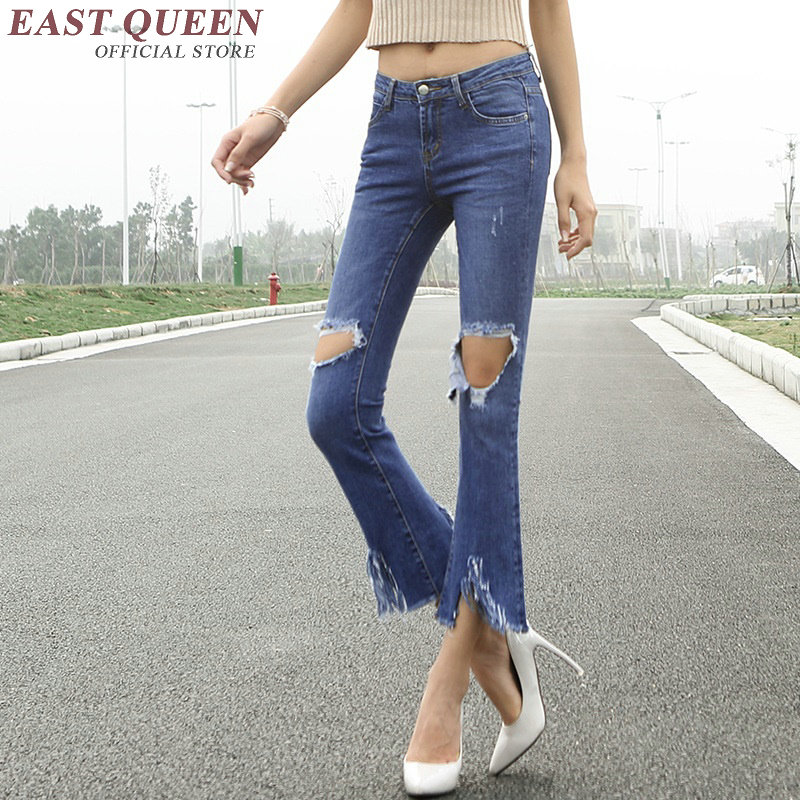Ripped jeans for women panties with hole blue denim jeans woman 2017 AA2654 Y