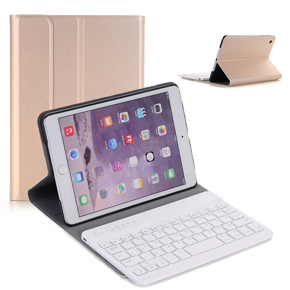 Eagwell Detachable Wireless Bluetooth Keyboard + PU Leather Case For iPad Mini 1/2/3 Ultra thin PC+ABS Bluetooth Keyboard Cover new detachable official removable original metal keyboard station stand case cover for samsung ativ smart pc 700t 700t1c xe700t