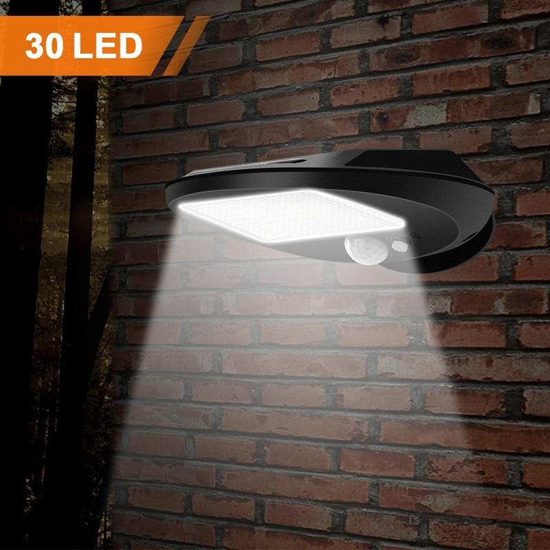 LED Solar Power PIR Motion Sensor Wall Light Outdoor Waterproof Energy Saving Street Yard Path Home Garden Security Lamp 30 LEDsSolar Lamps   -