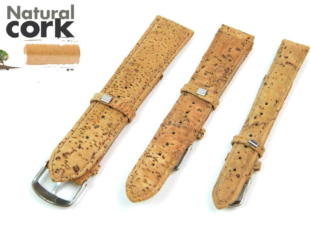 Natural cork watch strap with PU leather 14/18/20/22/24MM handmade high quality 911 natural cork watch strap brown cork with pu leather handmade vegan high quality e 001