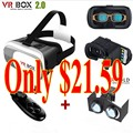 Gift Google cardboard VR BOX 2.0 Version Virtual 3D Glasses + wireless bluetooth controller gamepad+VR Fold Virtual Glasses
