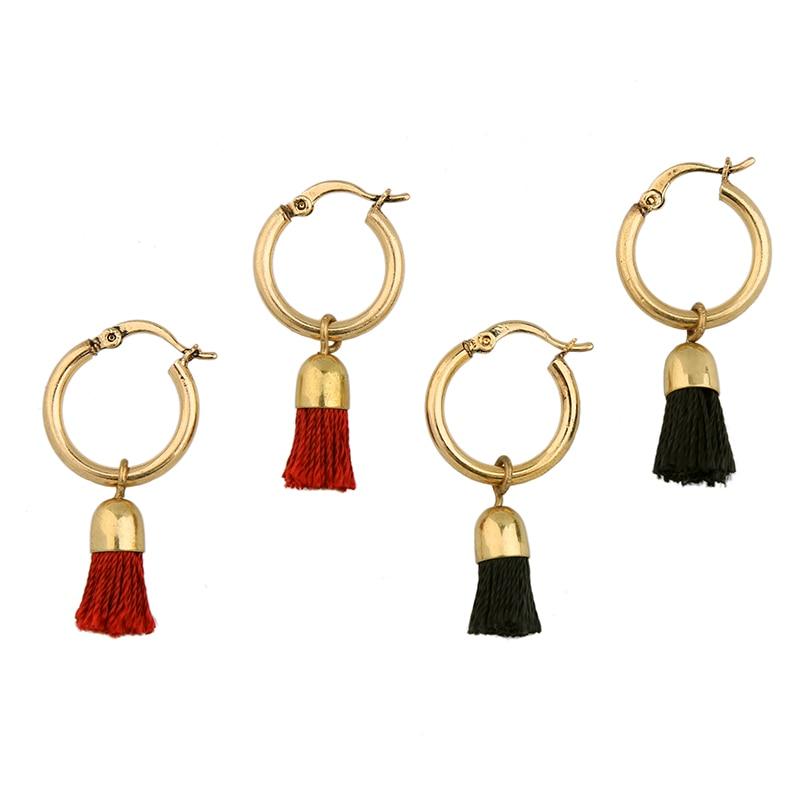 Kiss me 2 renkler siyah kırmızı püskül küpe yeni marka bakır - Kostüm mücevherat - Fotoğraf 6