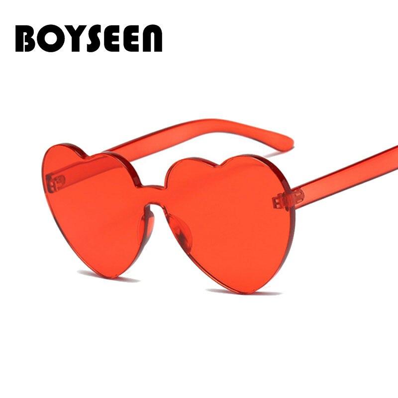 BOYSEEN Amor da Forma Do Coração Óculos De Sol Das Mulheres 2018 Óculos Sem  Aro Moldura 7b932a4245