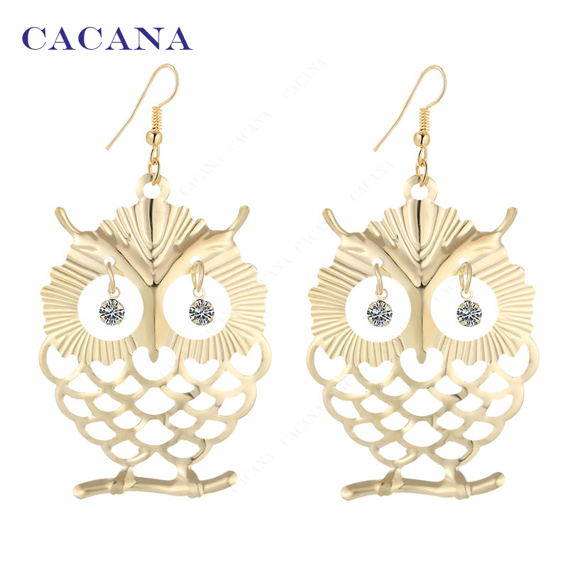2016 new CACANA gold plated dangle long earrings for women beautiful owl with shining eye bijouterie hot sale No.A445 A446
