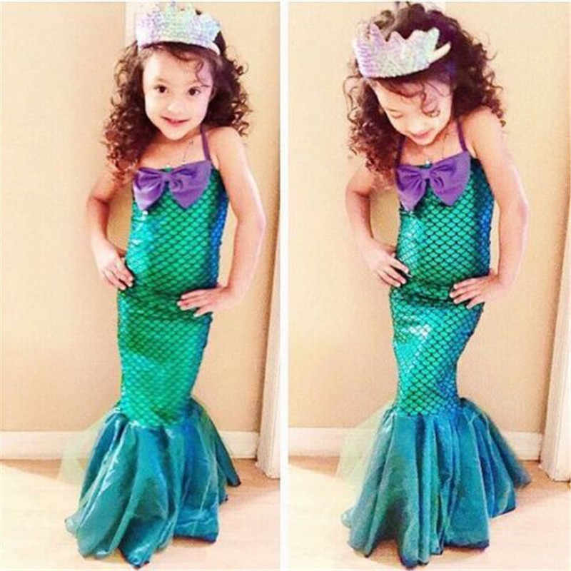 2018 New tail princess ariel dress cosplay costume kids for girl fancy green dress Halloween Christmas cosplay costume