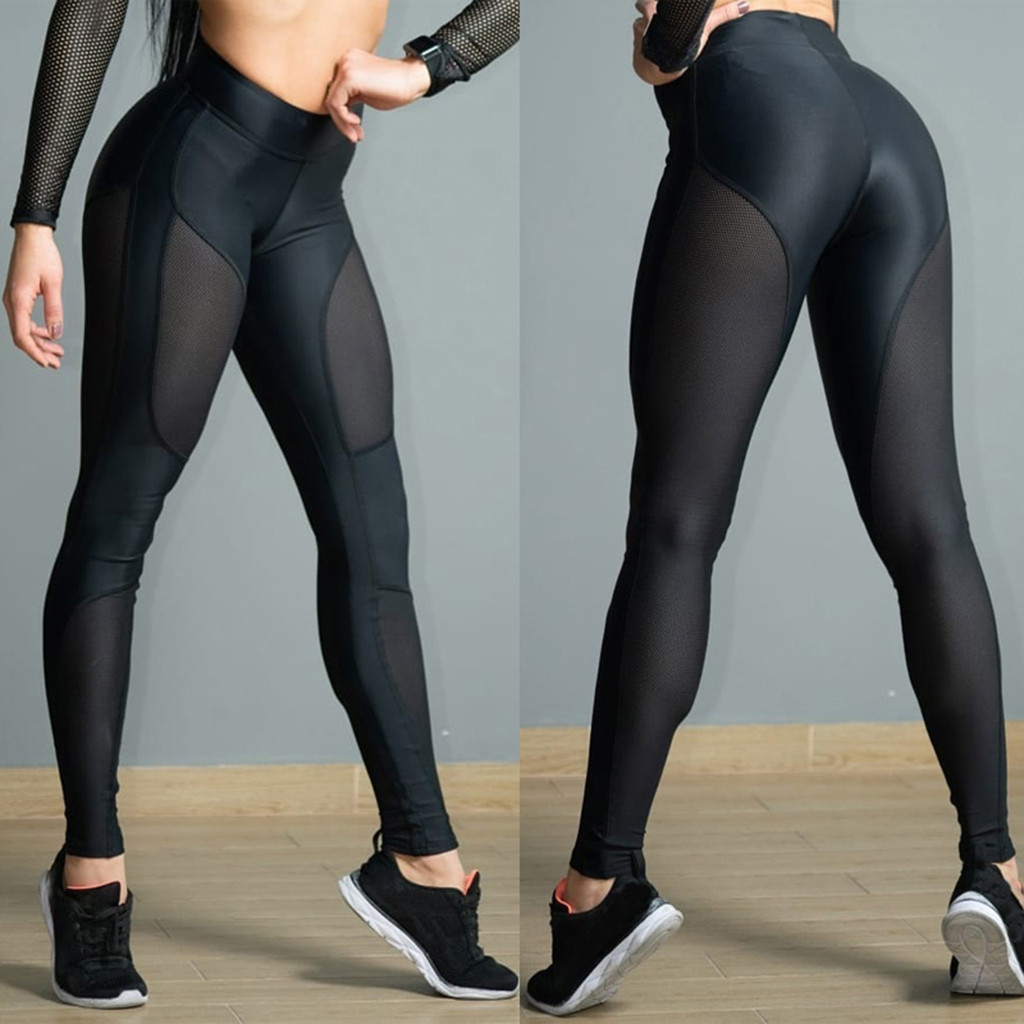 Women's See-through Workout Leggings Fitness Sports Gym Athletic Stitching Hip Mid Waist Sweatpants Pants Leggings