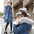 Europe Women Long Winter Coat Thick Denim Jacket Female Real Fox Fur Hood Cashmere Coat With Padded Lamb 2016 Winter Coat Women