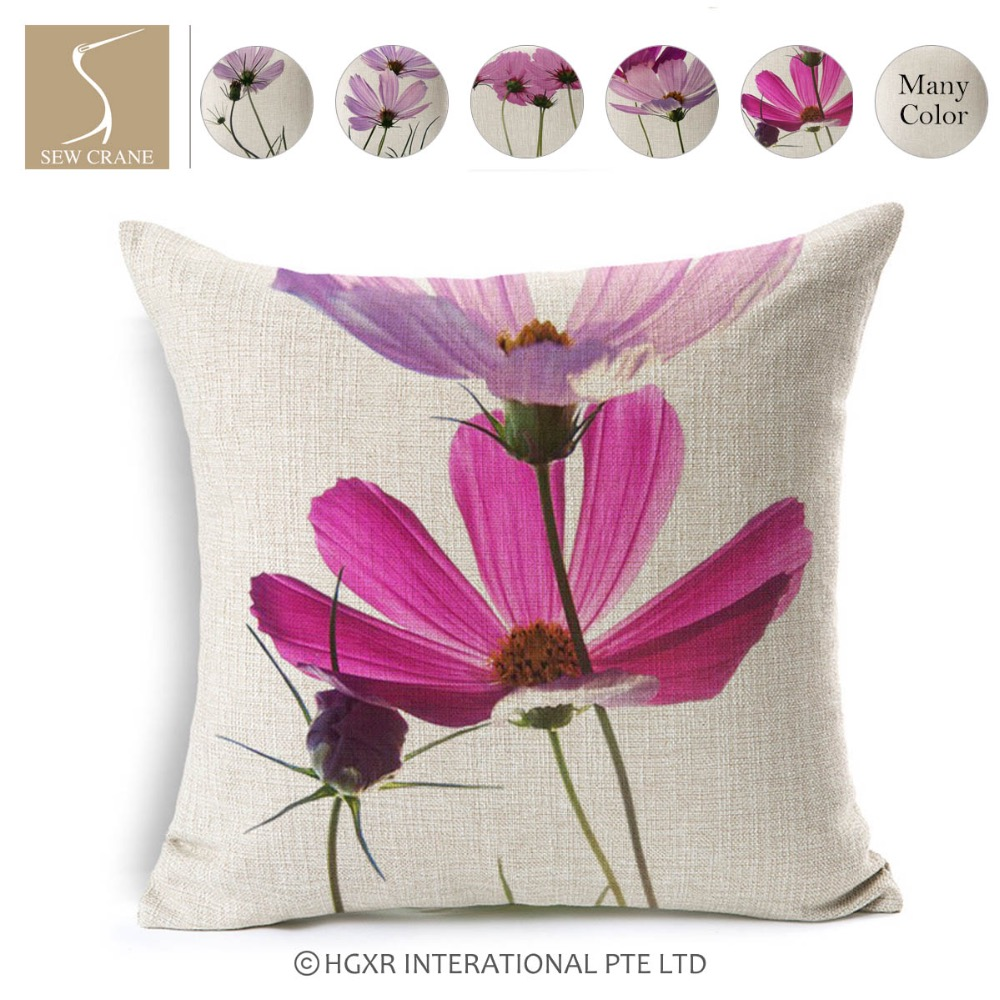 Sewcrane Floral Painting Pink Daisy Flower Wildflowers Cotton Linen