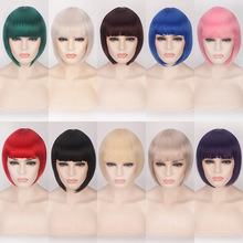 цена на Cheap Synthetic Hair Short Bob Wigs With Bangs Red Blue Yellow Pink Purple Blonde Natural Anime Cosplay Wig Anime Costume