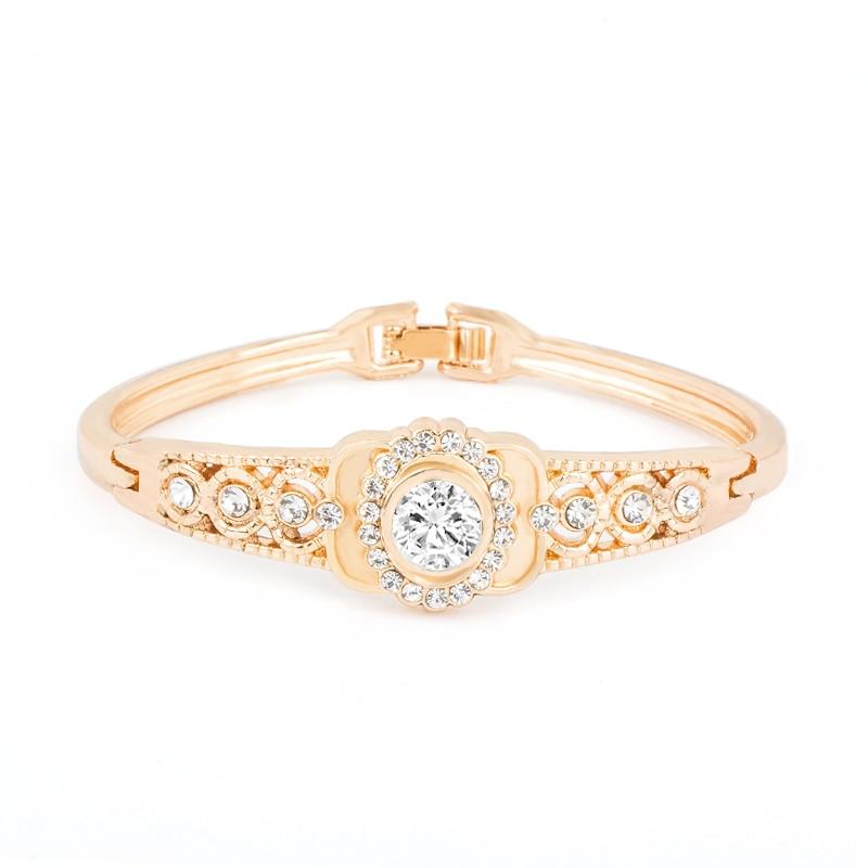 H:HYDE Women Crystal Gold Color Bangles Jewelry Geometric Bracelets Bracciali Donna Acessorios