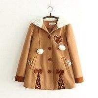 Japanese Lolita Mori Girl Vintage Retro Boho Loose Bow High Quality Fleece Hoodie Wool Blends Coat Fur Poncho Thick Warm Jacket
