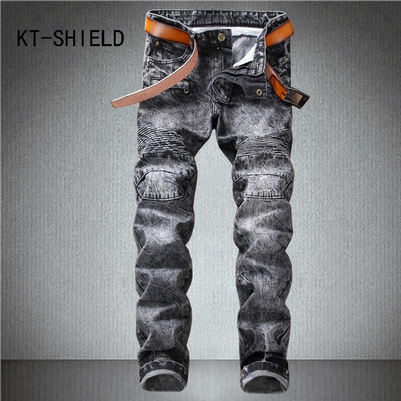 skinny jeans mens fashion famous brand Slim straight casual pants hombre biker motorcycle ripped denim trousers calca feminina